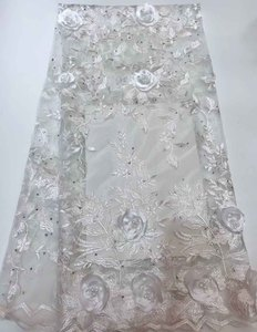 Pure white lady wedding 3d laces fabric flowers embroidered beaded tulle lace with stones
