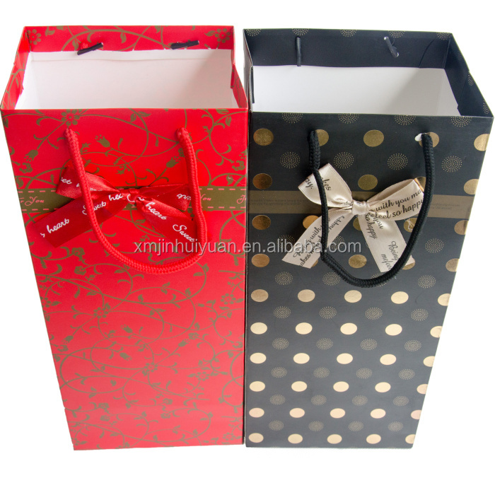 Luxury thickness polka dot wine packing bag,gift paper bag with cord handle