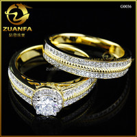 best selling his and her wedding ring set white zircon micro pave ring set