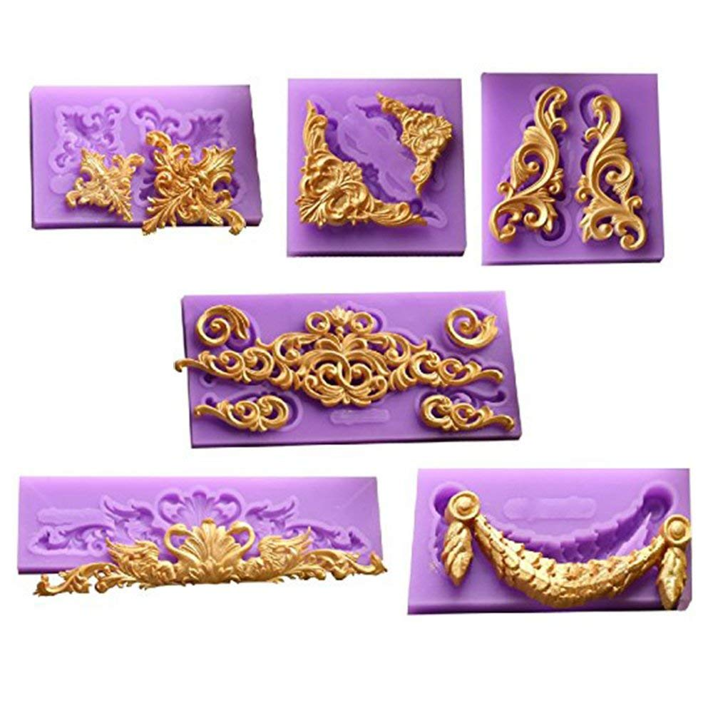 7Pcs Baroque Style Curlicues Scroll Silicone Molds, 3D DIY Cake Embossed Moulds, Cake Border Making Mold Clay Mold Fondant Cake Sugarcraft Border Cupcake Topper Decorating Supplies Cake Baking Tools