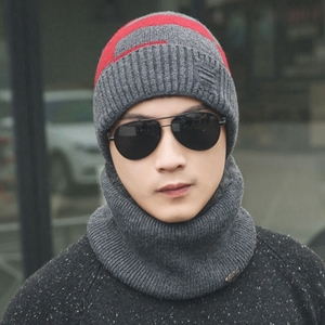 Men's winter Korean version of the warm knit hat thickening cashmere wool bonnets winter tide men fleece cap with scarf bonnets