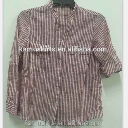Women Bamboo Cotton Stripes Banded Collar Casual Shirts