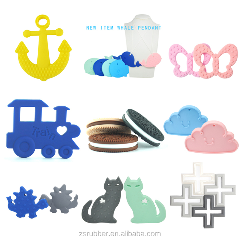 Silicone sensory chewing necklace silicone pendant teething wholesale BPA Free Food Grade soft teether silicone cactus teether
