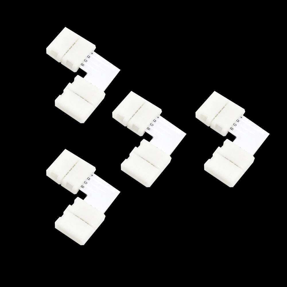 LightInTheBox 10mm L Shape 4 Pins Connectors for 3528 5050 SMD Strip Light Accessory for RGB LED Strip Light Strip to Strip (4 Pack)