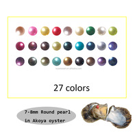 Vacuum-packed 7-8mm Mixed colors Loose pearl Round in Akoya Pearl Oyster