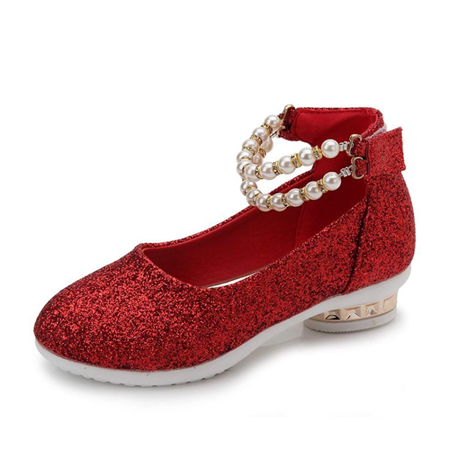 F-OXMY Little Girls Adorable Sparkle Mary Jane Bow Low Heels Princess Dress Ballet Shoes Strap