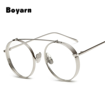 d6ab255ee4c Fashion Thick Metal Glasses Frame Women Round Eyewear Brand Designer Retro Men  Clear Lens Goggle Eyeglasses
