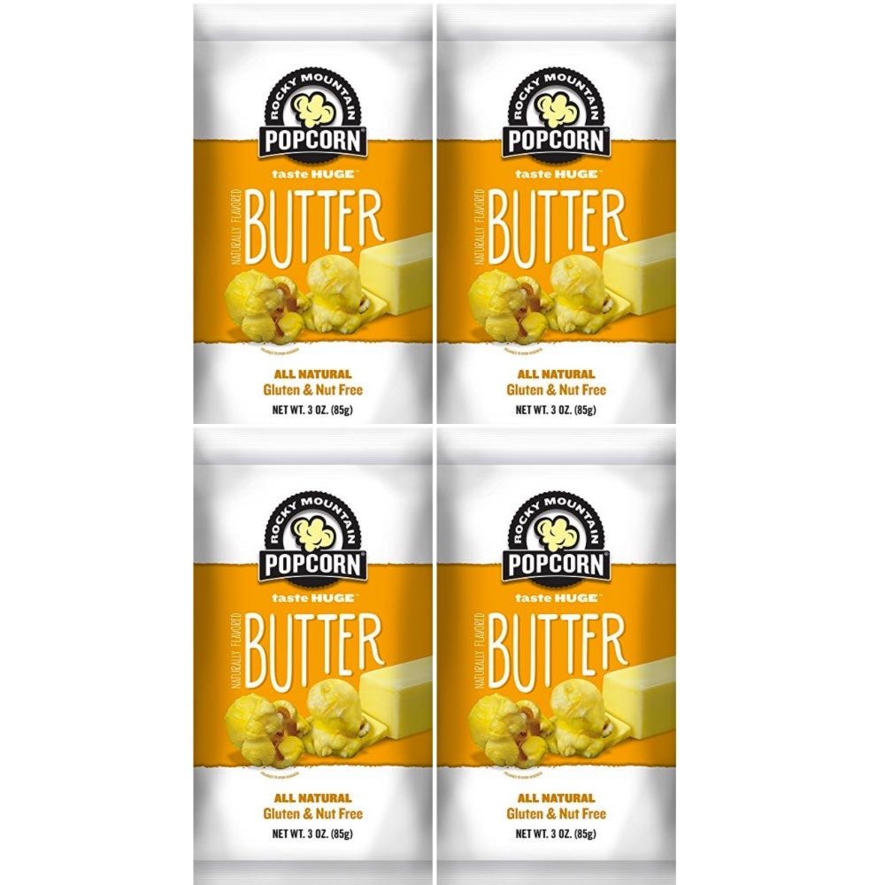Rocky Mountain Popcorn, Real Butter Gourmet Popcorn Combo Pack, 3 Ounce Bags (Pack of 4) (Butter, 3.0 Ounce)