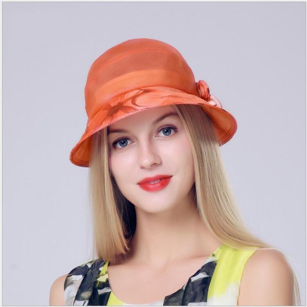 Get Quotations · ArryJing Women s Ultra Light Wide-brimmed silk Summer Hat  Wedding Dress Church Hats Beach Organza 0e2c56bd18b9