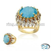 BIG Gold Plated Mexico Blue Topaz CZ Cubic Zircon Ring