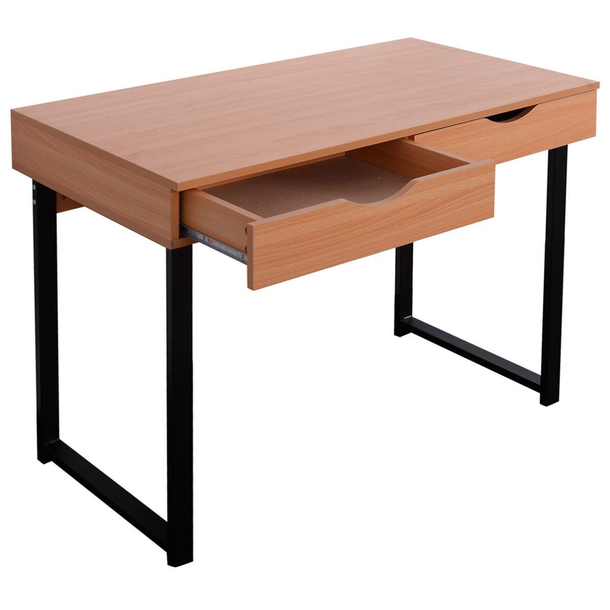 TANGKULA Computer Desk Laptop Writing Desk Student Study Desk Modern Simple Style Home Office Desk Large Size PC Laptop Study Table Workstation Writing Desk for Home and Office (Wood)