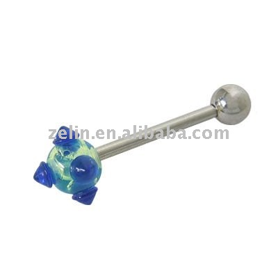 Straight Barbell Tongue Ring Surgical Steel with UV Acrylic Ball --BG