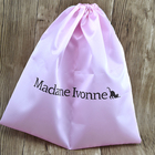 Customized Logo 14w*14h inches Light Pink Silk Satin Drawstring Shoe Bag