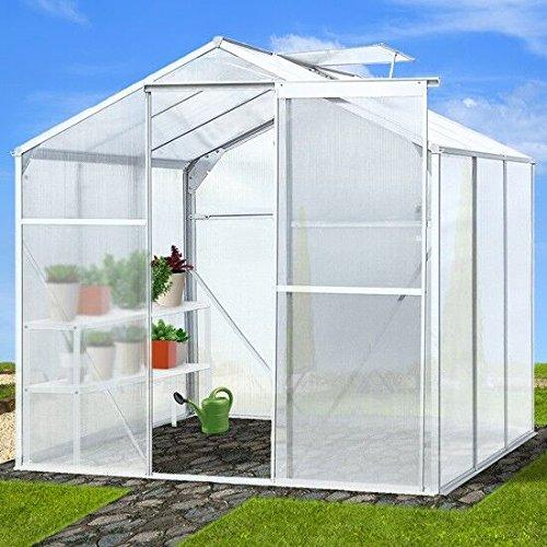 Kinbor 6'x6' Walk in Garden Greenhouse Plant Heavy Duty Polycarbonate Roof Aluminum Frame