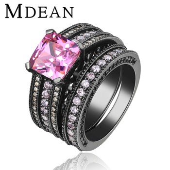 Black Gold Plated Ring Vintage Wedding Sets For Women Pink Stone