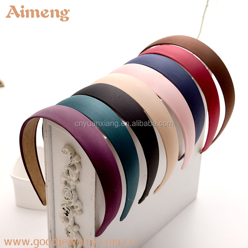 Pure color fabric covered velvet plastic hair bands headbead alice band
