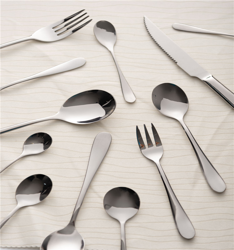 Free sample cheap plastic handle fork and spoon gift set