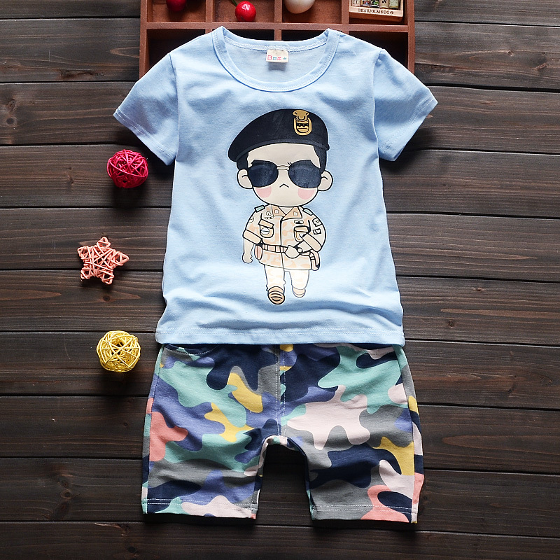 8960220e4dc7 Korean Style Song Joong Ki 2016 New kids Boys clothes Summer Cartoon Toddler  Boys clothing set Children Fashion Camouflage T626 ...