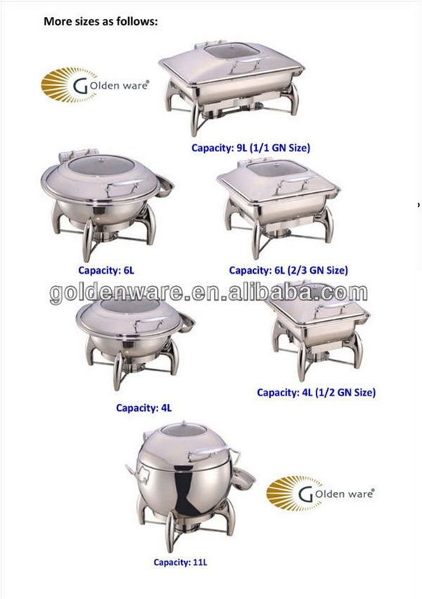 Guangzhou GW-S21-GL 4L Competitive Price Quality selling party use Stainless Steel chafing dish