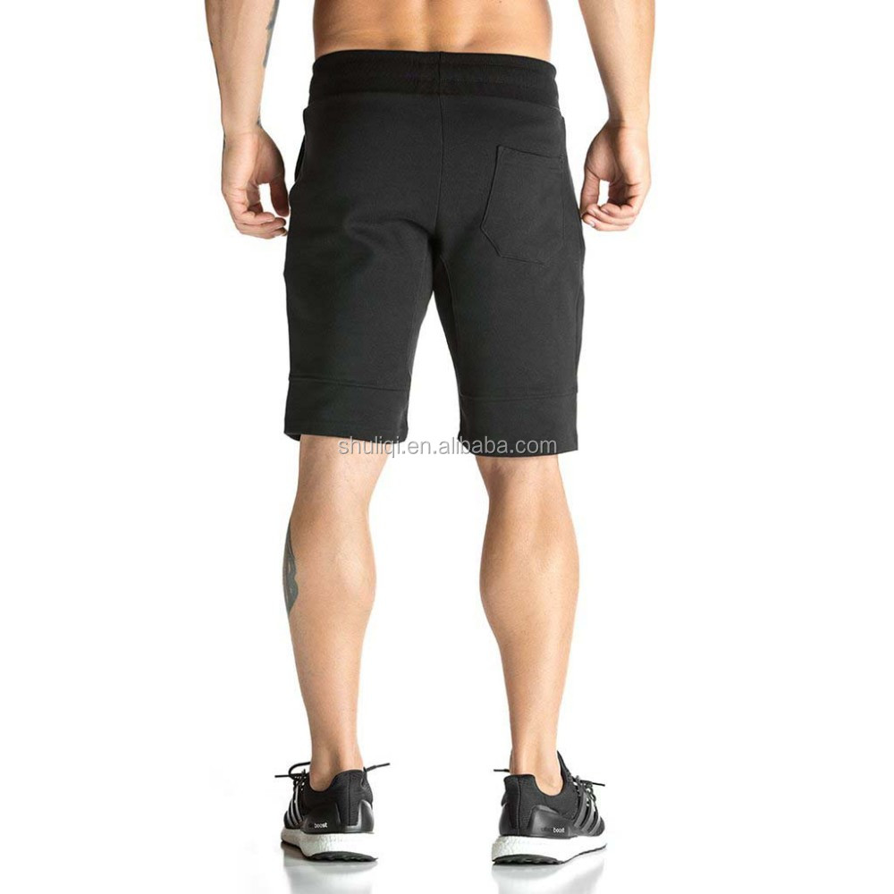 Thickness mens gym shorts custom, 65% cotton 35%polyester mens training shorts wholesale