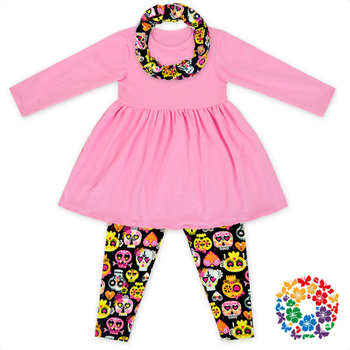 New Arrival Baby Girls Clothes Set Skull & Heart Print Long Sleeve Outfits 0-6 Years Old Girls Valentines Day Outfit