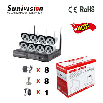 Good vision 2 array led H.264 OV9712 1.0 megapixel ip wifi wireless cctv network camera 8ch nvr kit