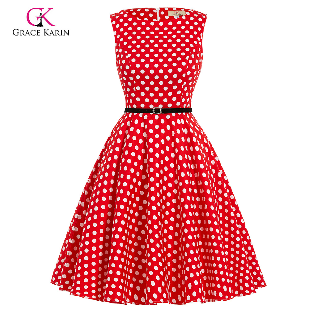 Grace Karin Stock Sleeveless Crew Neck Party Picnic Cotton Retro Vintage Pinup Dress CL6086-46