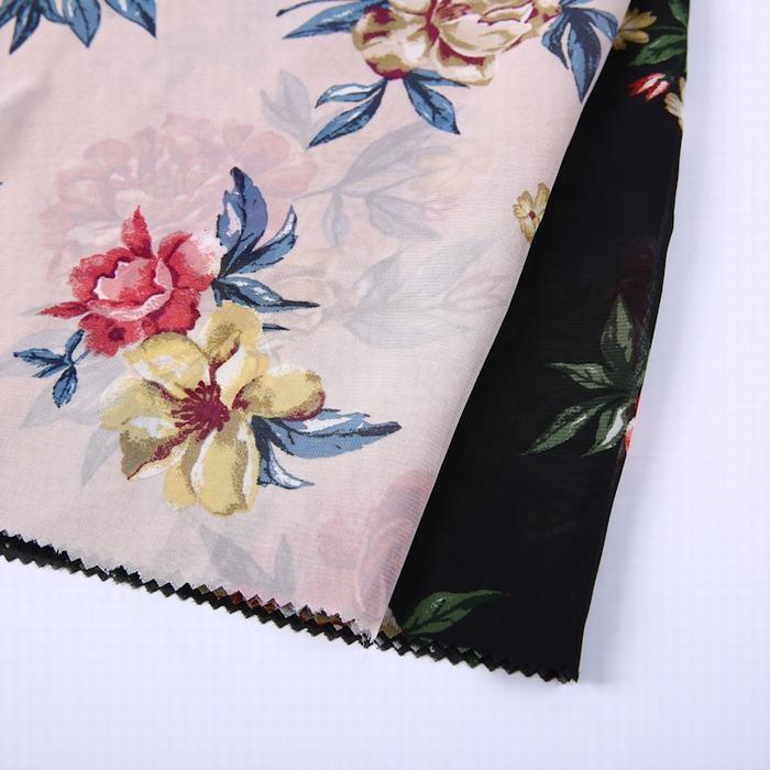 China supplier flower design plain 100% polyester custom woven pure printed chiffon fabric