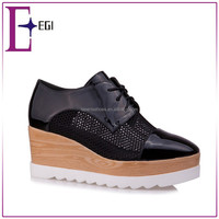 2016 new design fashion high neck casual shoes for women/ladies platform wedge shoes