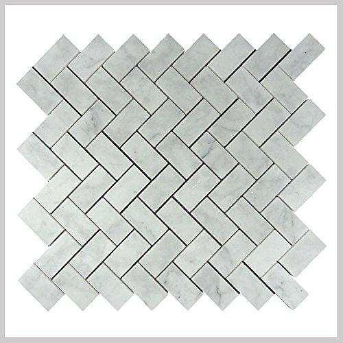 """Carrara White Marble Mosaic Tile, Herringbone, CWMM1CRO Size: 12""""X12""""X3/8"""" Polished"""