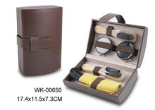 Boss style leather case shoe polish kit