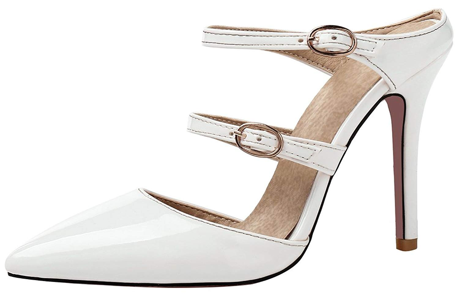 9c30e2d1145 Get Quotations · Mofri Women s Dressy Buckle Strap Pointed Toe Stiletto  High Heels Mules Shoes Sandals