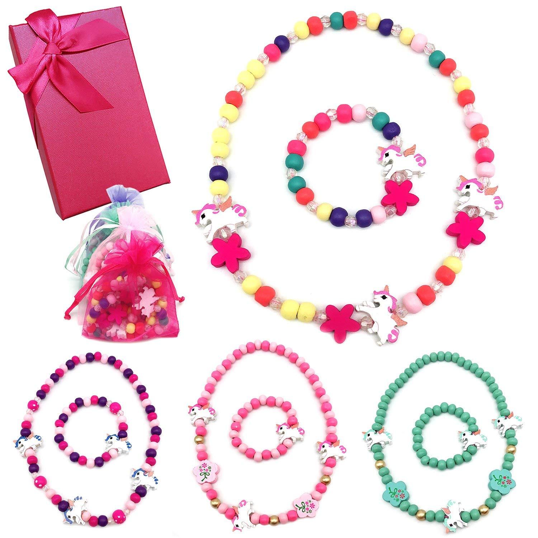Elesa Miracle Little Girl Wood Jewelry Kids Unicorn Wood Necklace and Bracelet Value Set Unicorn Party Favor Unicorn Necklace, 4 Sets