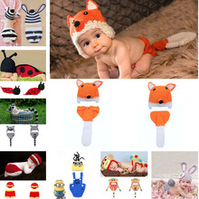 Crochet Fox Design Baby Hat and Pants Set Infant Baby Photography Props Crochet Hats and Diaper