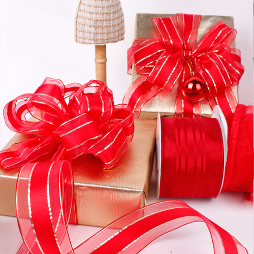 Commercio all'ingrosso 1-1/2 pollici 38mm Decorazione Di Natale Red Wired Bordato Nastro