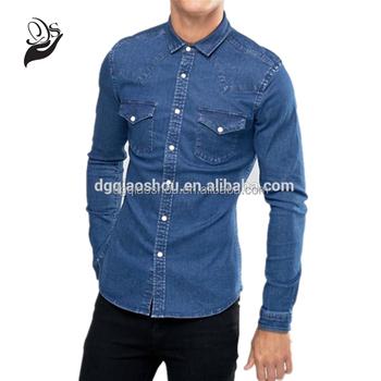 ea466e6ed6 Hombre Camisa De Denim Clásico Casual Camisa - Buy Pantalones ...