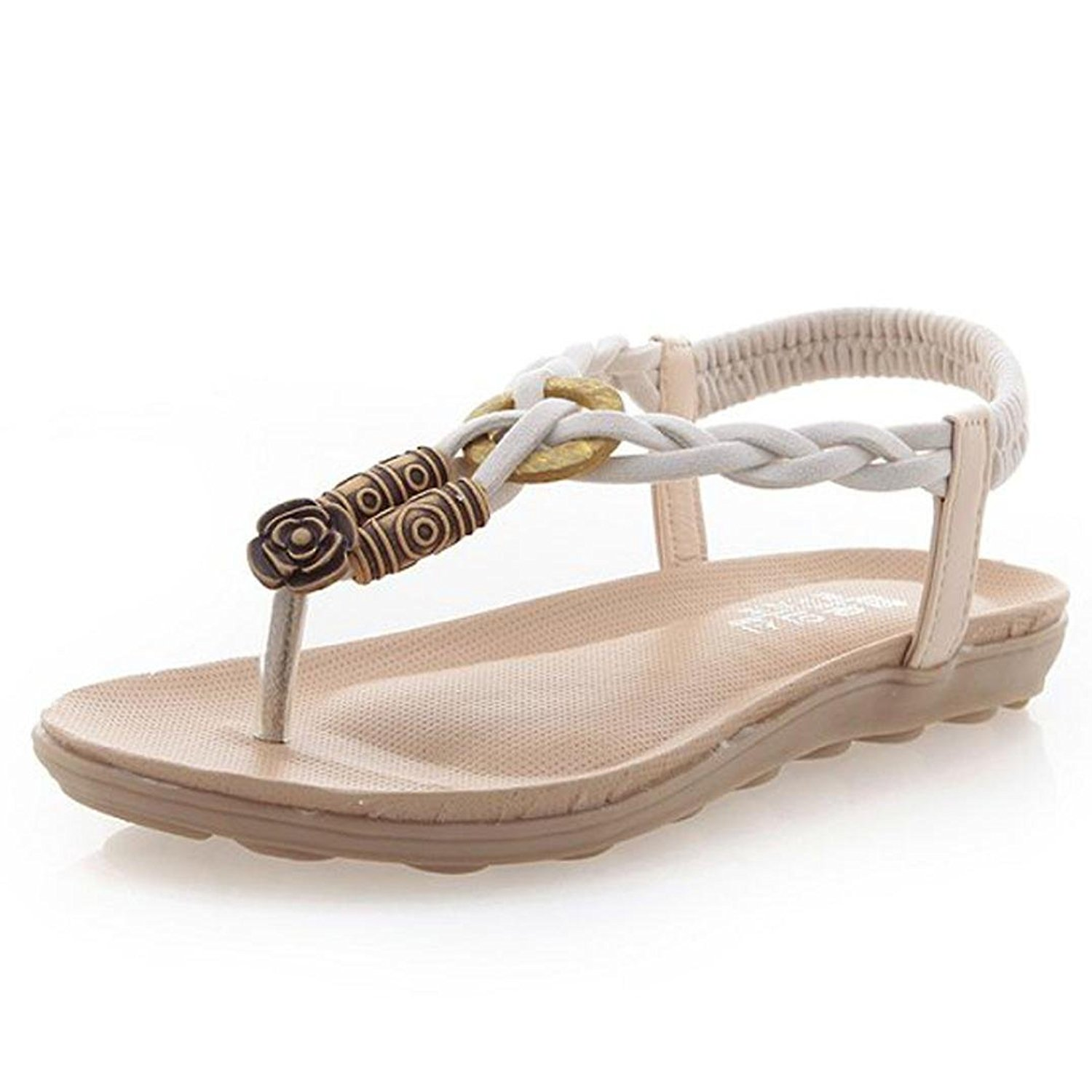 DEESEE(TM) Women Summer Bohemia Sweet Beaded Sandals Clip Toe Sandals Beach Shoes (US:6.5, Beige)