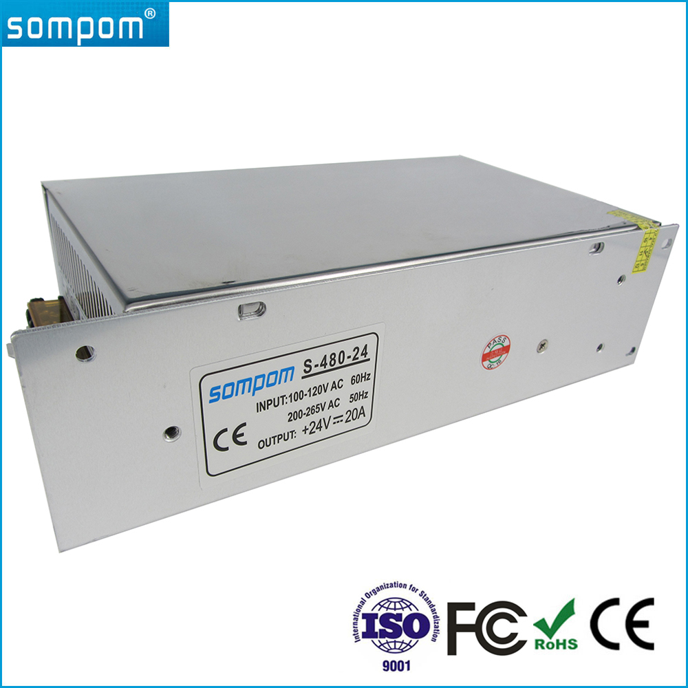 Sompom Power Supply DC 24V 20A Switching Power 500W RoHS Driver