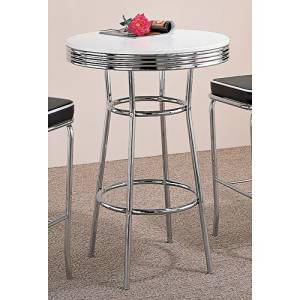 Get Quotations · Coaster Retro Fountain Style Bar Table With White Top And  Chrome Finish