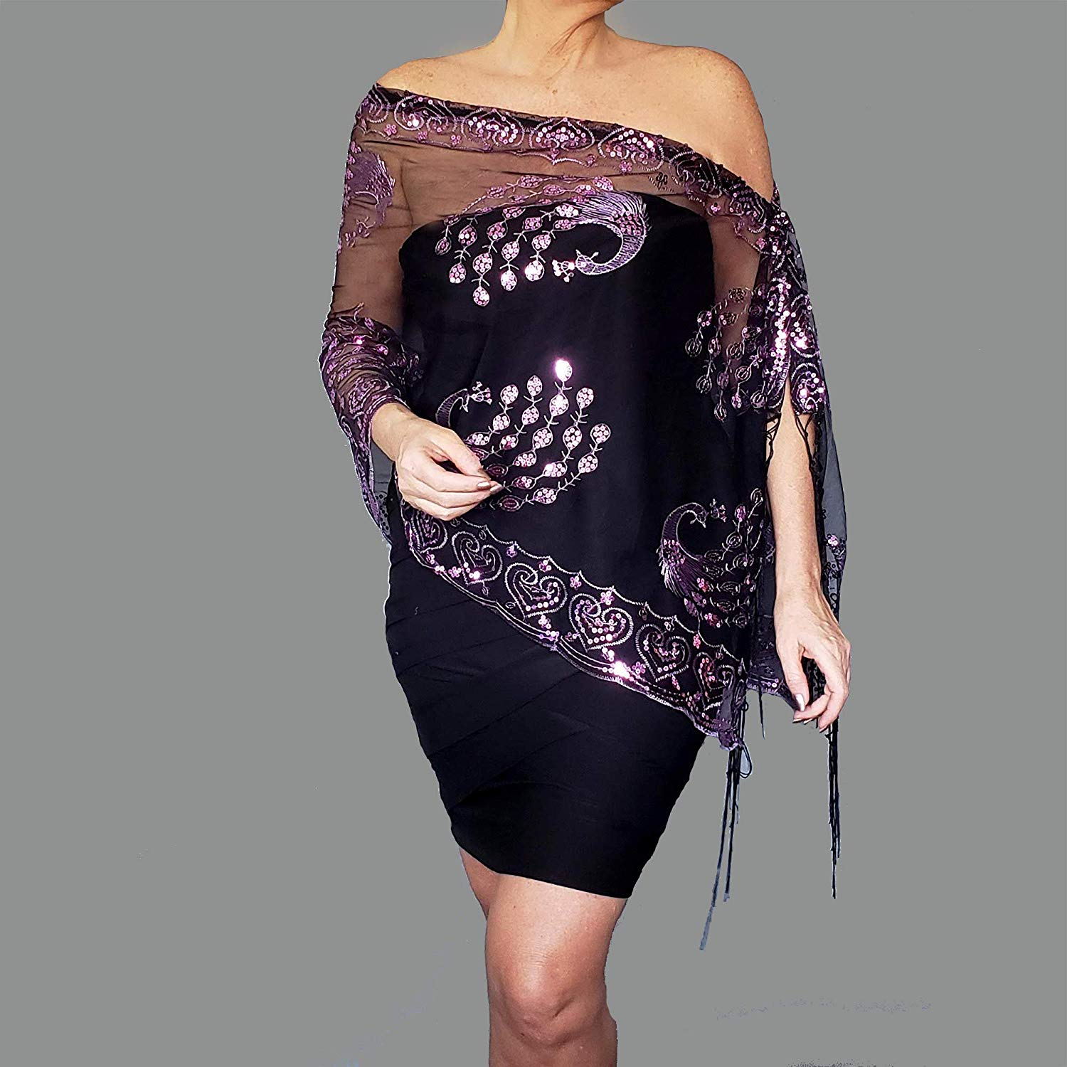 9e536fcf40af1 Get Quotations · Purple Sequin Shawl Lavender Peacock Evening Wrap Black  Stole By ZiiCi