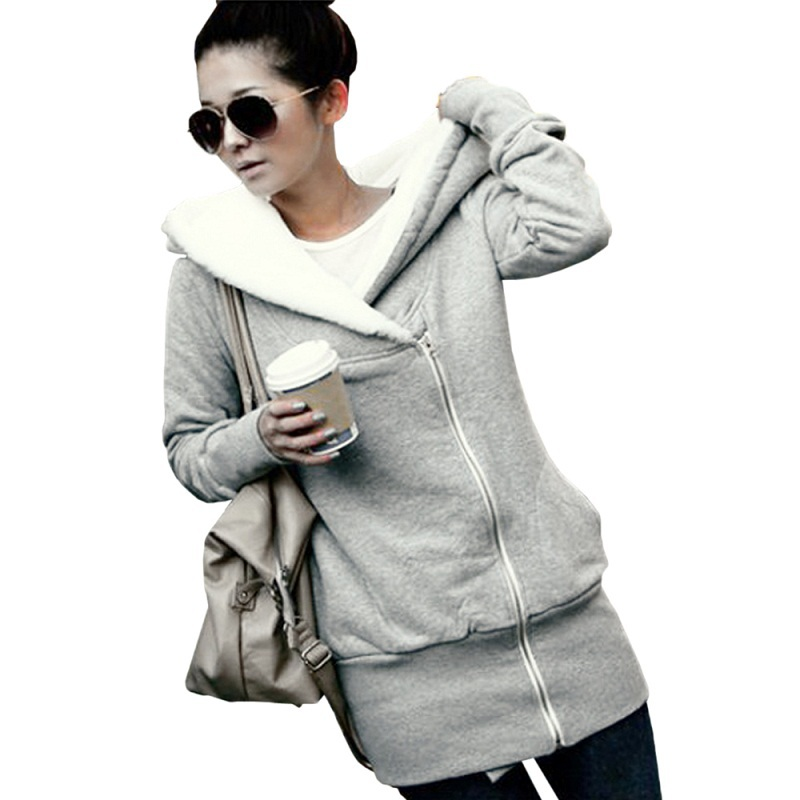 2016 Womens Hoodies Winter Autumn Warm Fleece Cotton Coat Zip Up Outerwear Hooded Sweatshirts Sport Suit
