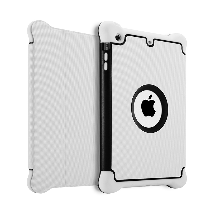 White shockproof tablet protector cover case,tpu+pu+pc flip leather case for ipad