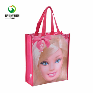 Safe and ecological multifunctional pink mickey mouse pp non woven bag for shopping
