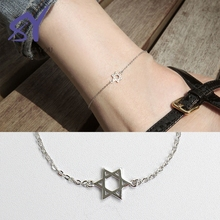 Alibaba Hot Product Silver Material Link Chain Star Shape 925 Sterling Silver Jewelry Bracelet Anklet Feet