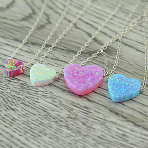 Beautiful Heart shape opal pendants with 925 silver necklace