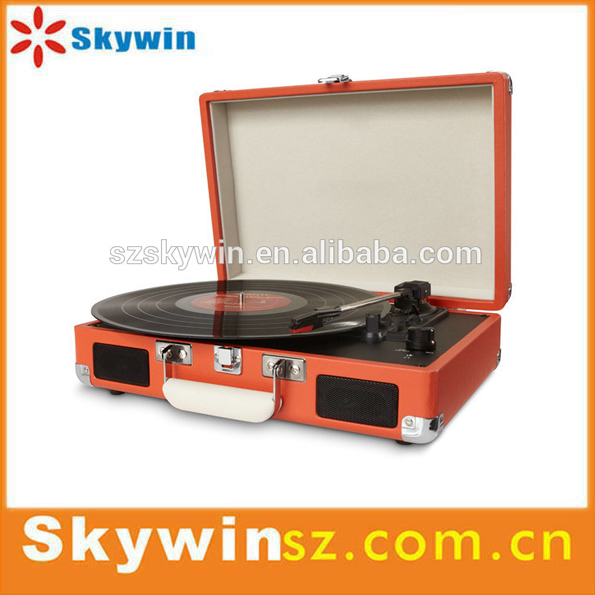 Factory Price Briefcase Vinyl Record Player Portable /Audio Turntable Player with Bluetooth/RCA/Stereo Speakers 2016