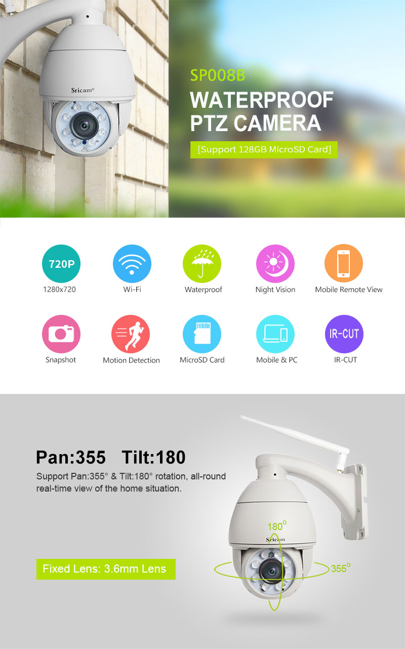 Wireless Outdoor Pan Tilt dome Camera Night Vision ip camera.jpg