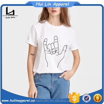 Wholesale White Hand Gesture Print Short Sleeve Sublimation T Shirts