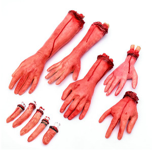Cosplay props terror severed bloody fake arms hands and foot halloween decoration props