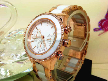 Crystal Accented Rose Gold-Tone and White Ceramic Bracelet Watch for women